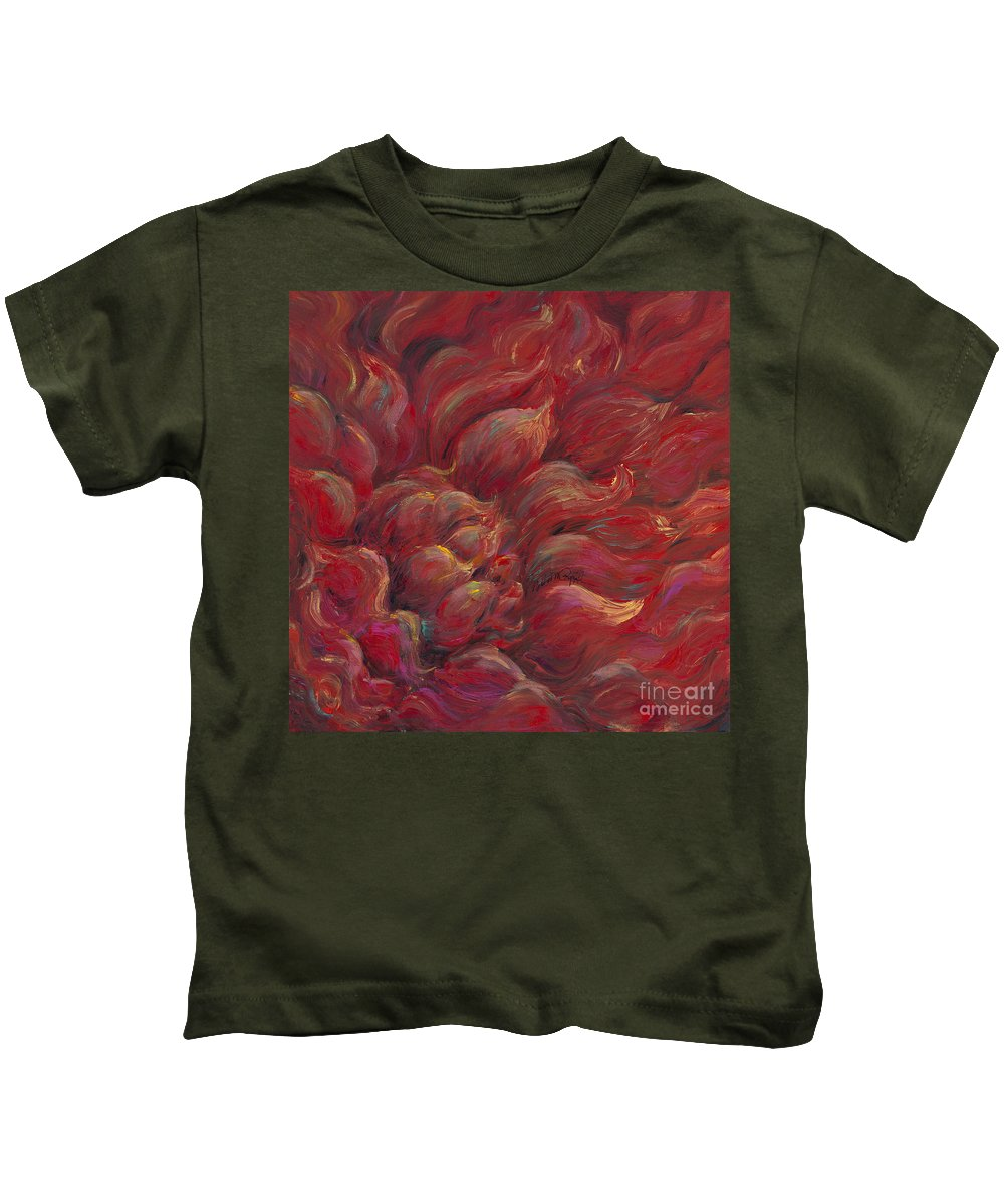 Red Kids T-Shirt featuring the painting Passion V by Nadine Rippelmeyer