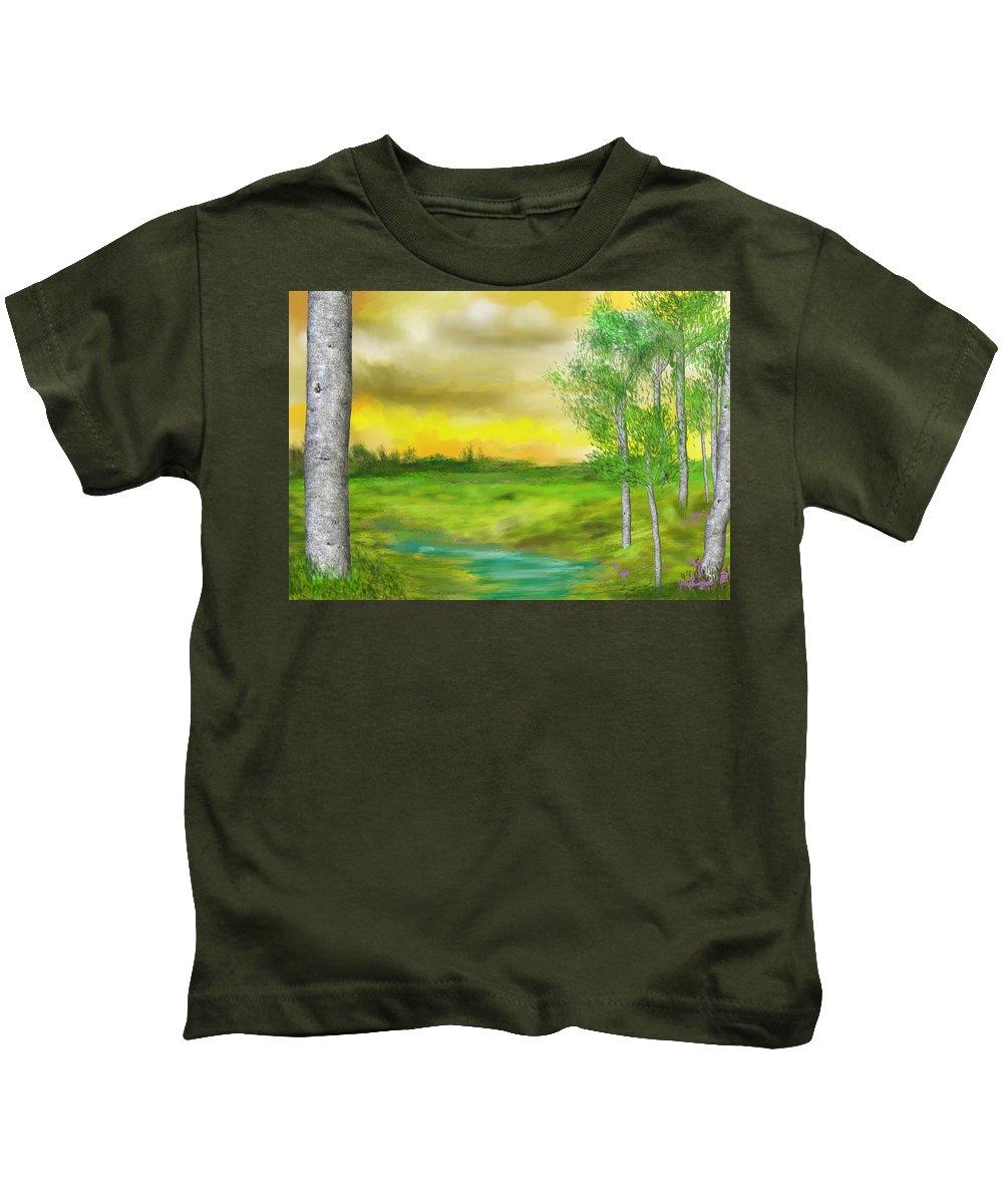 Landscape Kids T-Shirt featuring the digital art Pastoral by David Lane