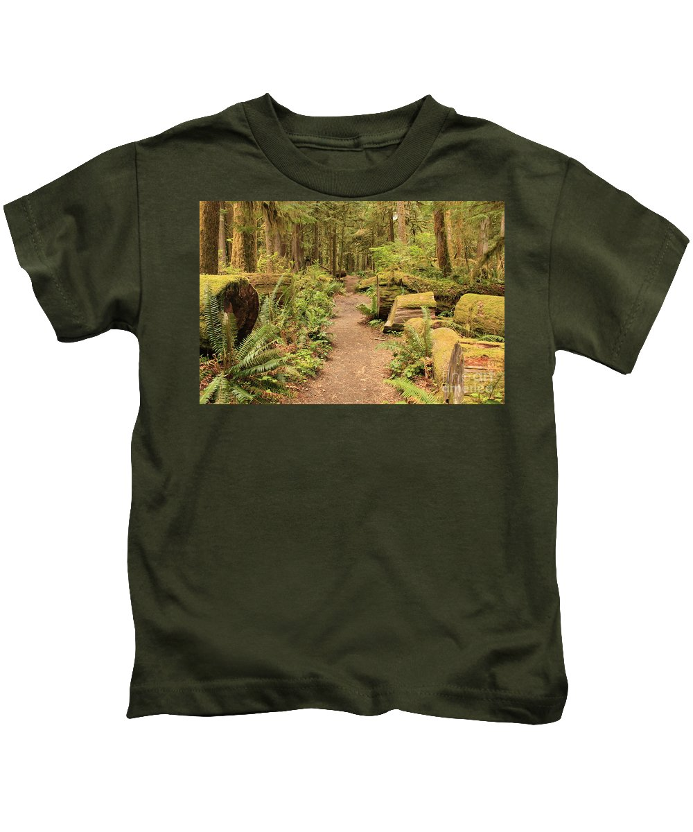 Lake Crescent Kids T-Shirt featuring the photograph Path Through Mossy Forest by Carol Groenen