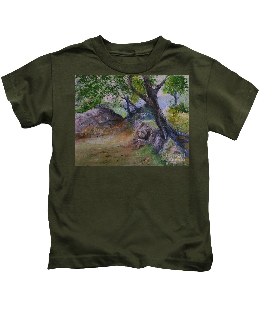 Landscape Kids T-Shirt featuring the painting Path To Nowhere by Stephen King