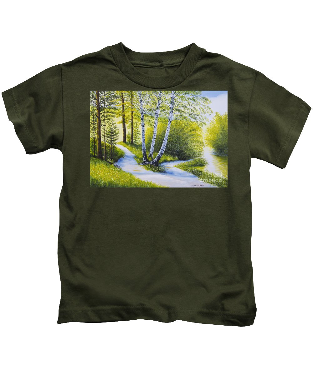 Art Kids T-Shirt featuring the painting Path To The Beach by Veikko Suikkanen