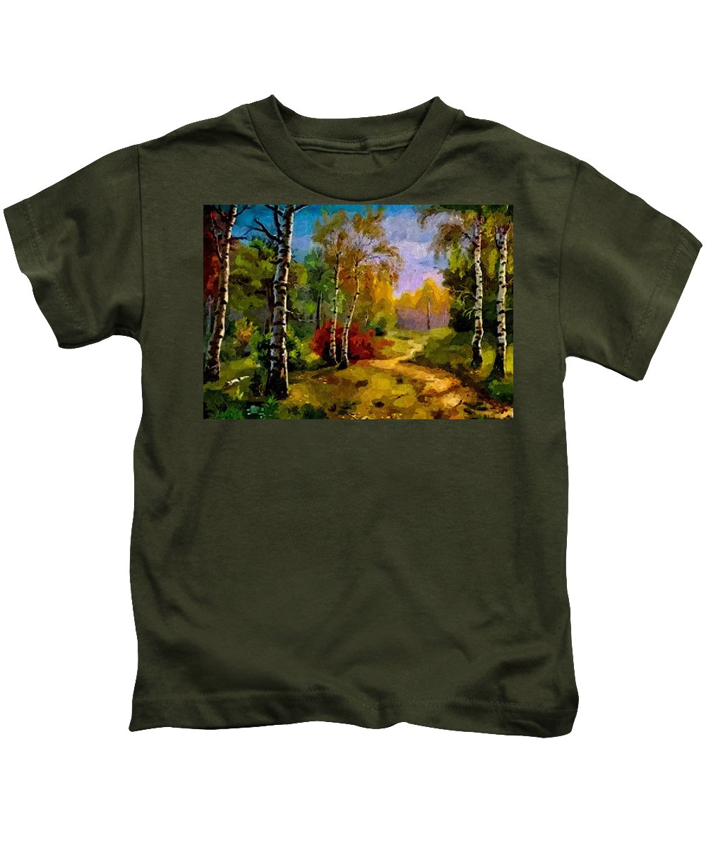 Announcement Kids T-Shirt featuring the painting Pathway Through The Forest H B by Gert J Rheeders