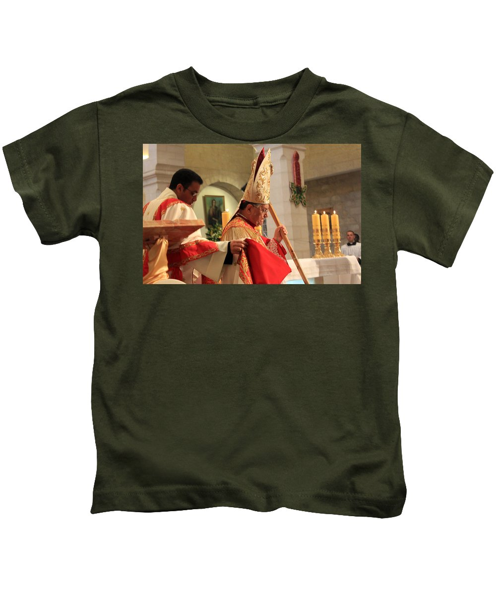 Patriarch Kids T-Shirt featuring the photograph Patriarch Fouad Twal At Christmas Mass by Munir Alawi