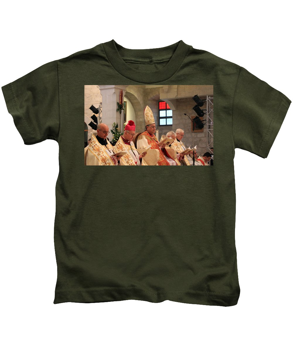 Patriarch Kids T-Shirt featuring the photograph Patriarch Fouad Twal by Munir Alawi