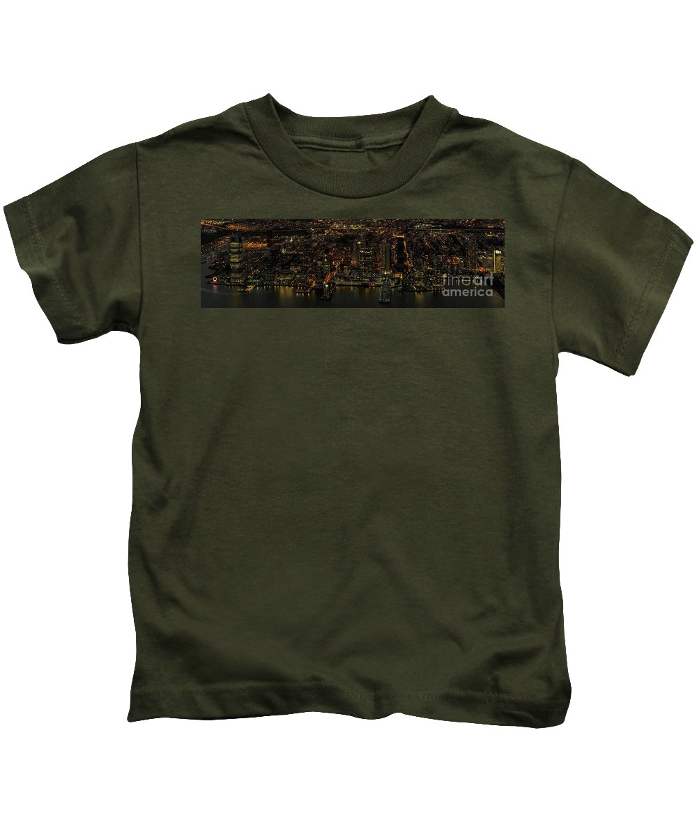 Paulus Hook Kids T-Shirt featuring the photograph Paulus Hook, Jersey City Aerial Night View by David Oppenheimer