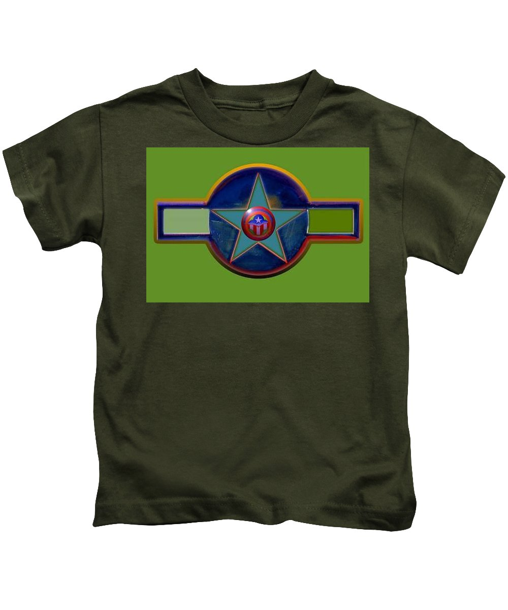 Usaaf Insignia Kids T-Shirt featuring the digital art Pax Americana Decal by Charles Stuart