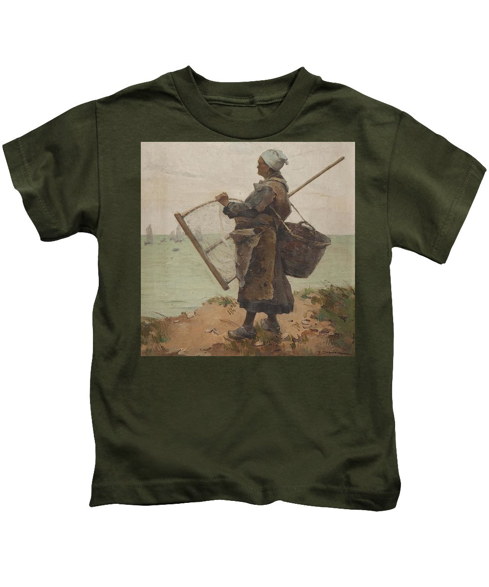 Henri Gaston Darien  Kids T-Shirt featuring the painting Pcheuse Bretonne by Henri Gaston DARIEN