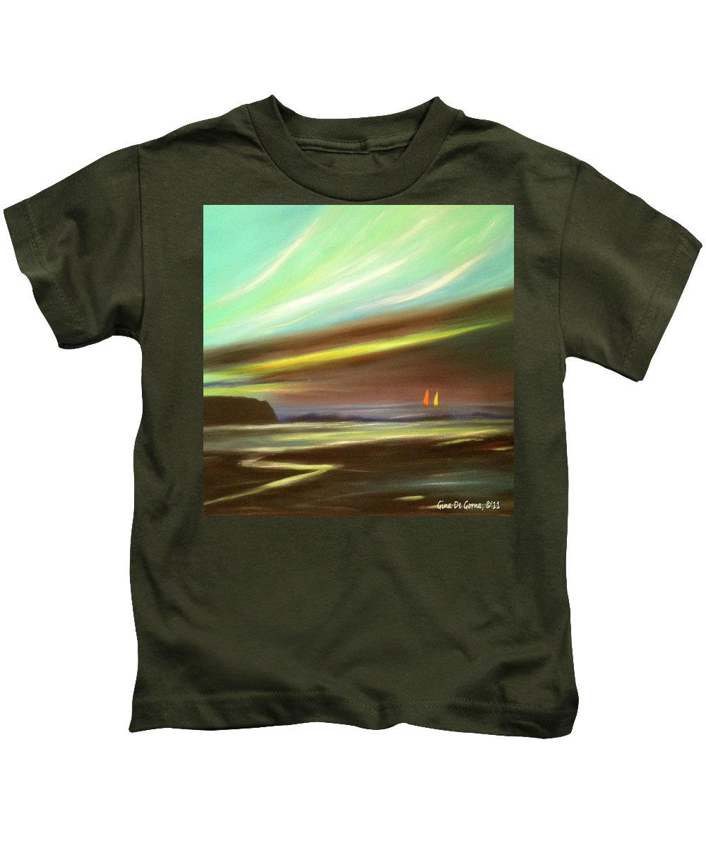 Brown Kids T-Shirt featuring the painting Peace Is Colorful - Square Painting by Gina De Gorna