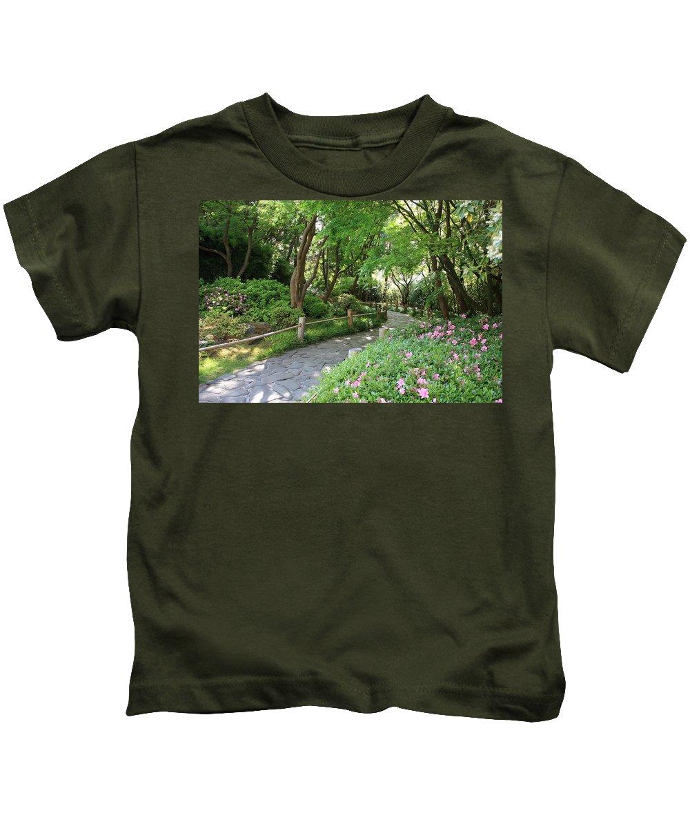 Garden Path Kids T-Shirt featuring the photograph Peaceful Garden Path by Carol Groenen
