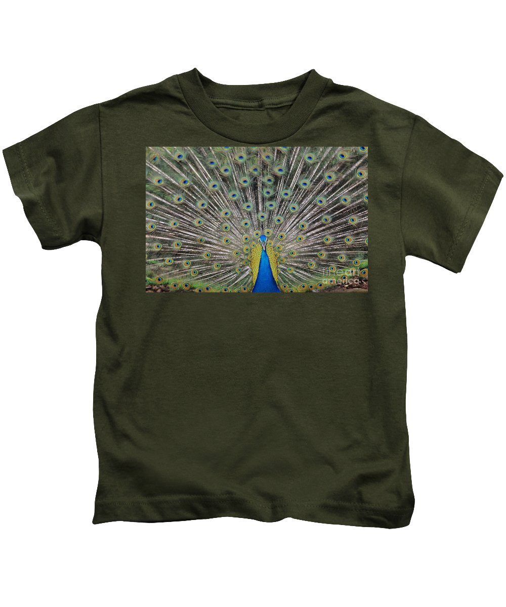 Admire Kids T-Shirt featuring the photograph Peacock Display by William Waterfall - Printscapes