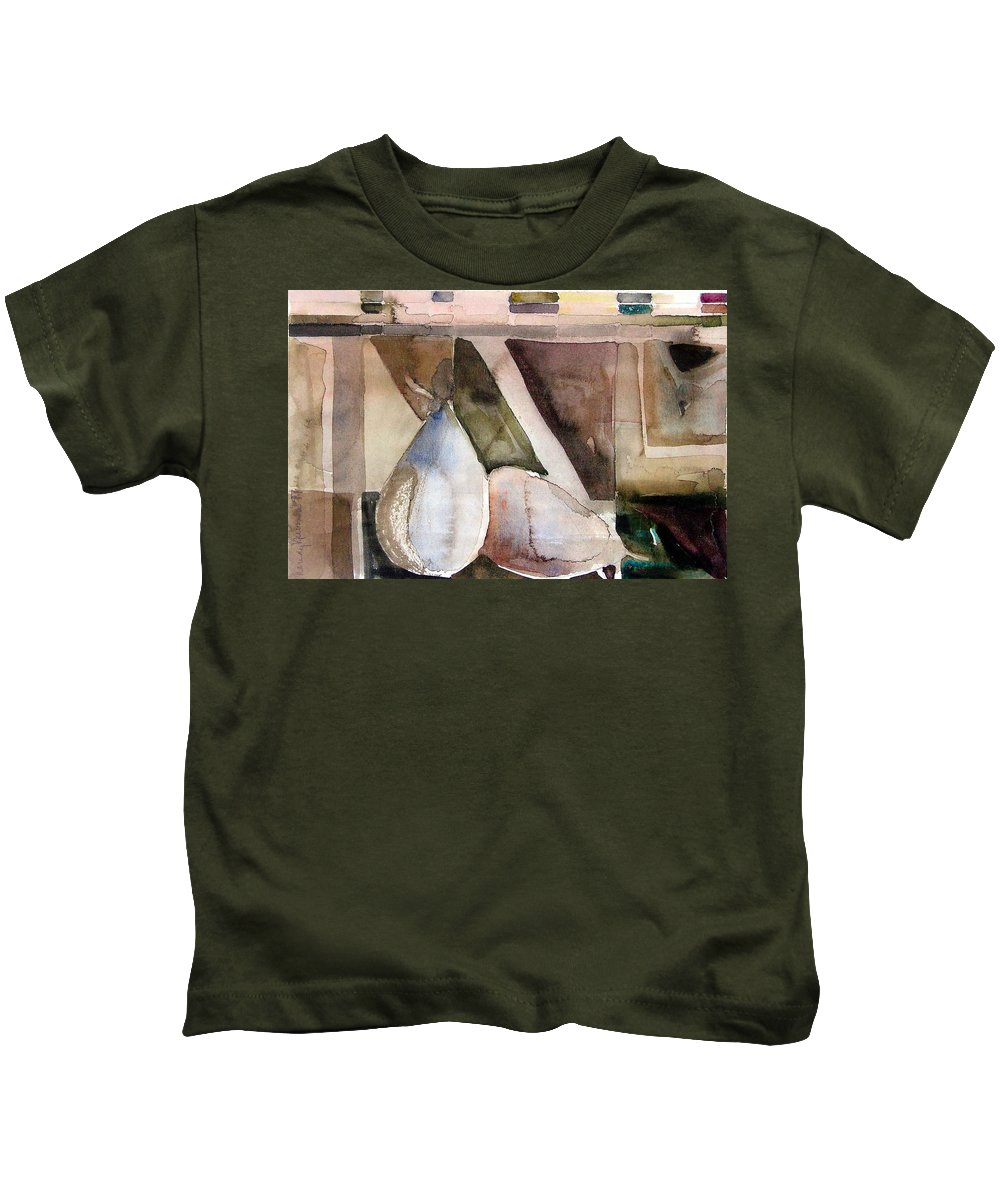 Pear Kids T-Shirt featuring the painting Pear Study In Watercolor by Mindy Newman