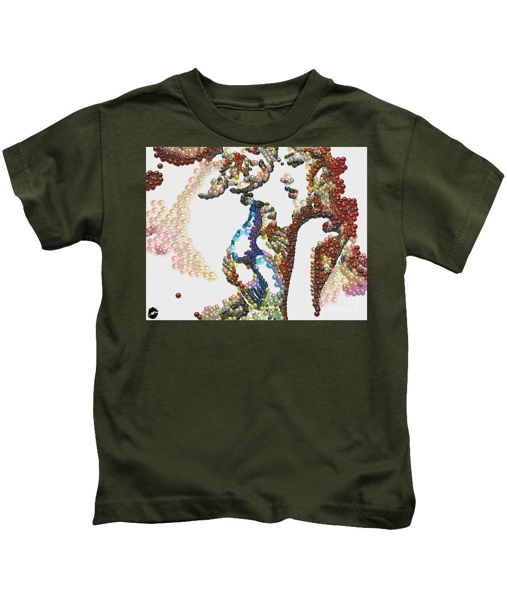 Pearlesqued She Kids T-Shirt featuring the painting Pearlesqued She by Catherine Lott