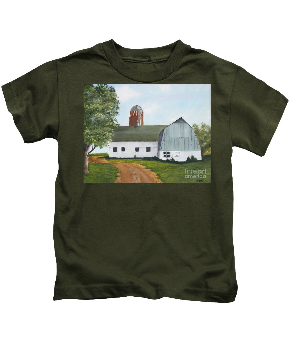 Barn Kids T-Shirt featuring the painting Pedersen Barn by Mendy Pedersen