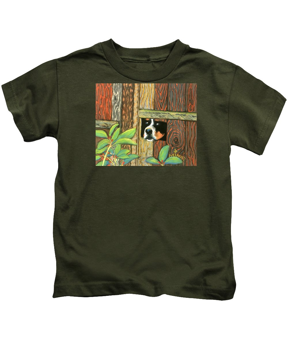 Dog Kids T-Shirt featuring the painting Peek-a-boo Fence by Minaz Jantz