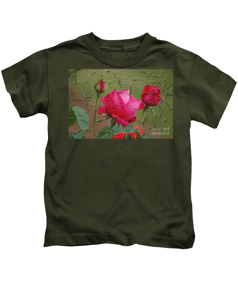 Rose Kids T-Shirt featuring the digital art Peeling Rose by Donna Bentley