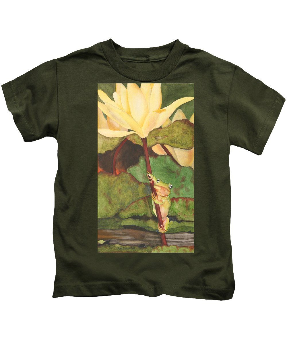 Frog Kids T-Shirt featuring the painting Peeping Tom by Jean Blackmer