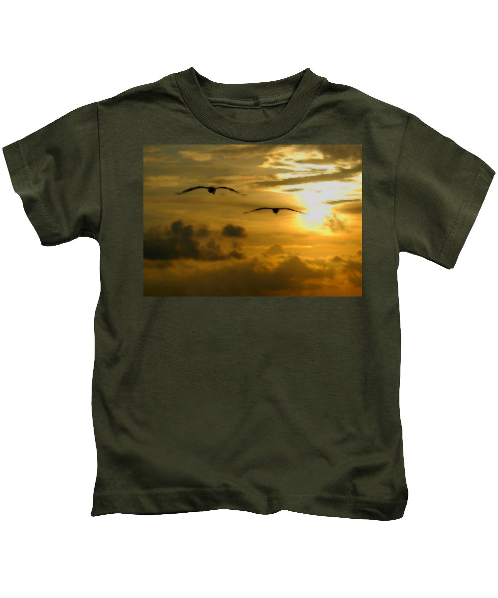 Pelican Kids T-Shirt featuring the painting Pelican Flight Into The Clouds by Michael Thomas