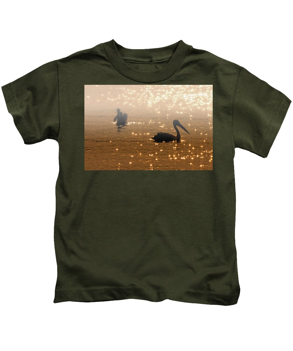 Pelican Kids T-Shirt featuring the photograph Pelican Sunrise by Mike Dawson