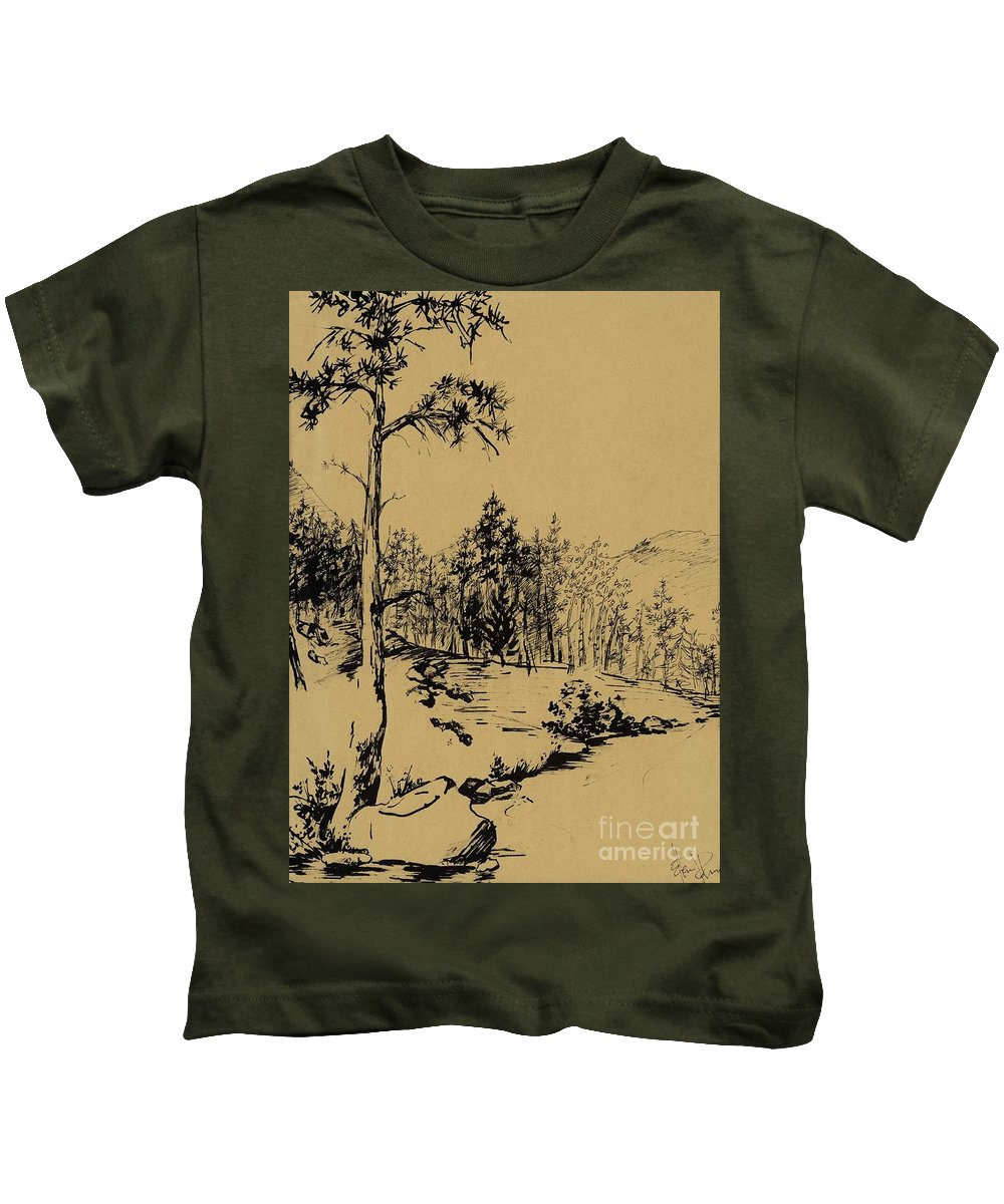 Landscape Kids T-Shirt featuring the drawing Colorado Landscape by Ellen Palmer Legacy Art