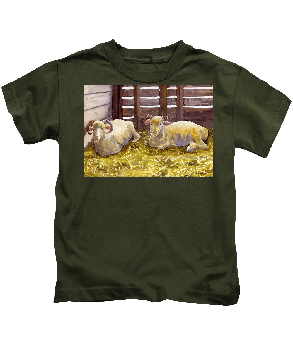 Sheep Kids T-Shirt featuring the painting Pen Pals by Sharon E Allen