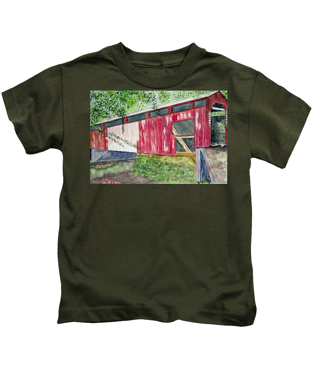 Pennsylvania Art Kids T-Shirt featuring the painting Pennsylvania Bridge To Nowhere by Larry Wright