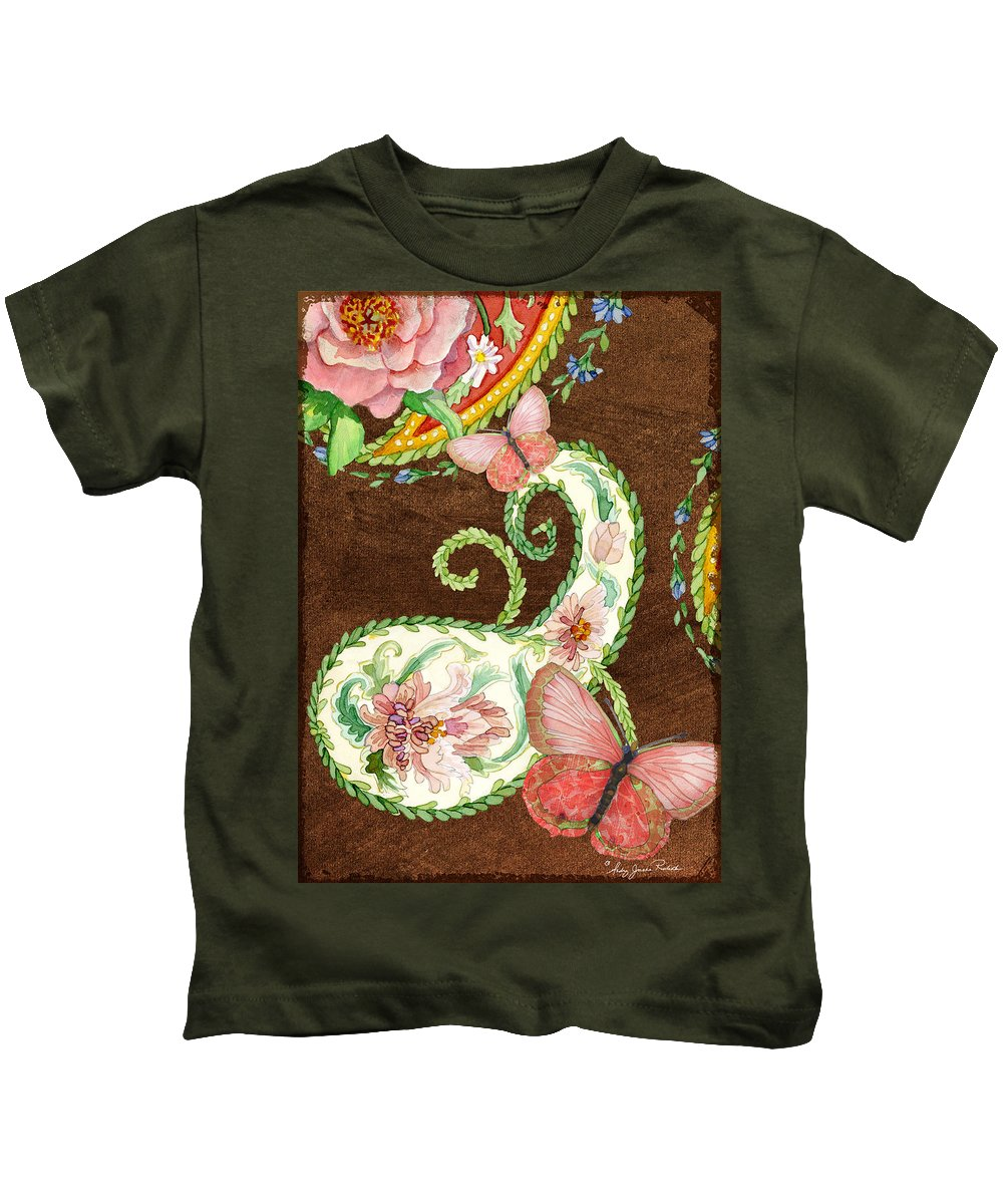 Paisley Kids T-Shirt featuring the painting Peonies N Paisleys 2 by Audrey Jeanne Roberts