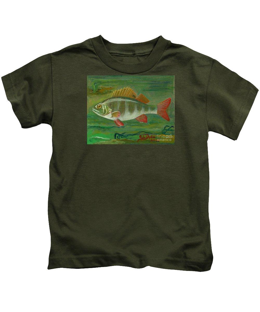 Folkartanna Kids T-Shirt featuring the painting Perch by Anna Folkartanna Maciejewska-Dyba
