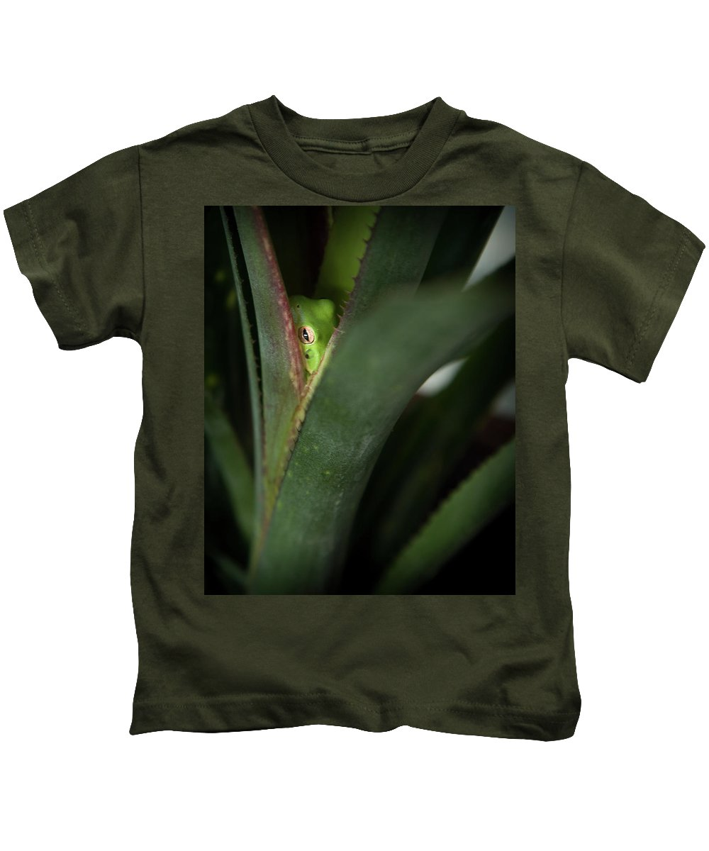 Perched Frog Kids T-Shirt featuring the photograph Perching With Comfort by Denis Lemay