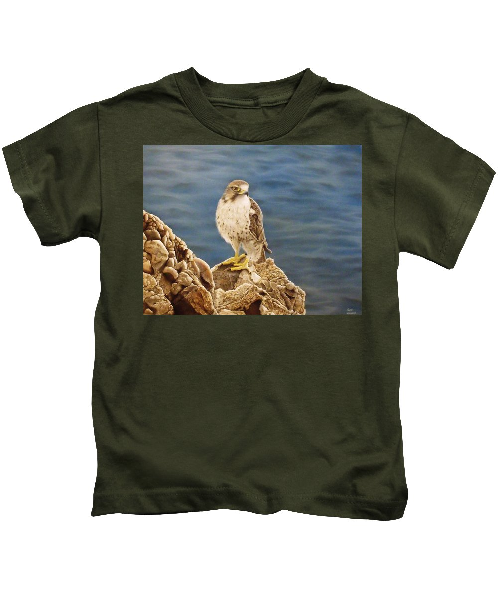 Peregrine Falcon Kids T-Shirt featuring the painting Peregrine Falcon by Keith Williams