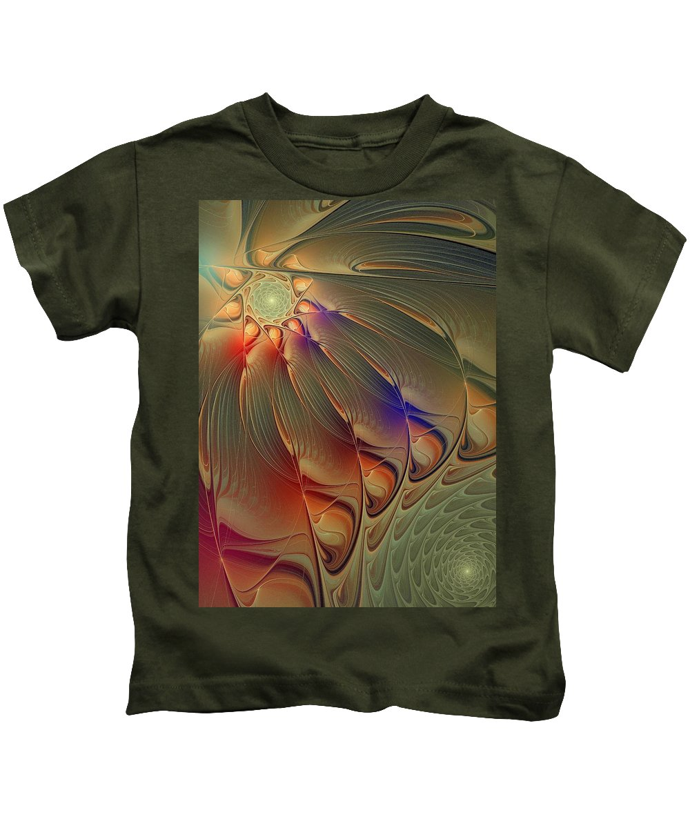 Digital Art Kids T-Shirt featuring the digital art Petalia by Amanda Moore