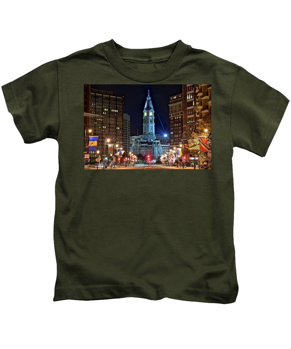 Downtown Kids T-Shirt featuring the photograph Philadelphia Downtown by Skyline Photos of America