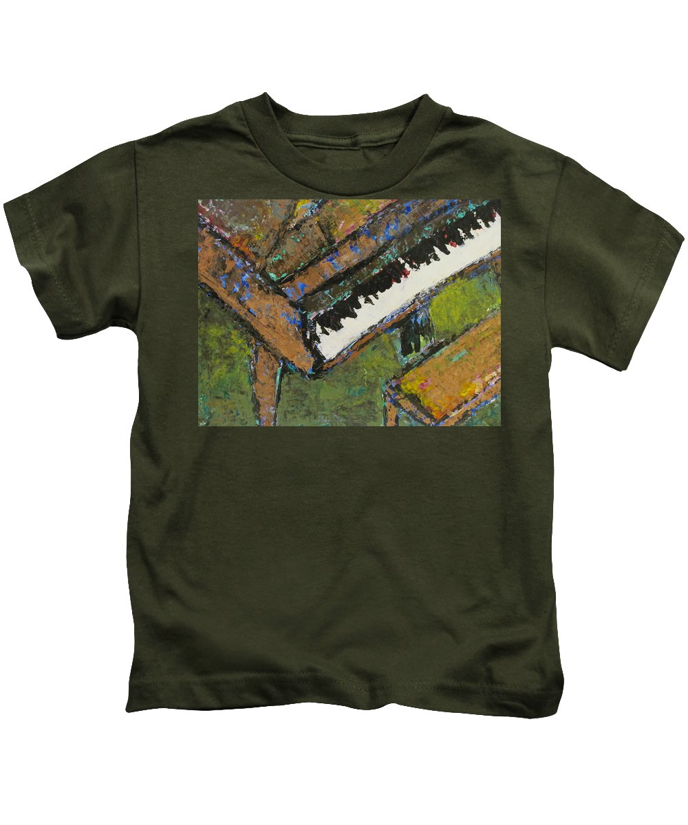 Piano Kids T-Shirt featuring the painting Piano Close Up 1 by Anita Burgermeister