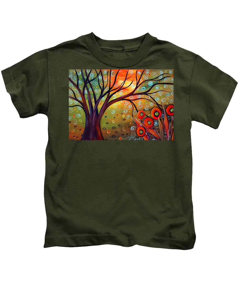 Landscape Kids T-Shirt featuring the painting Piece Of Eden by Luiza Vizoli