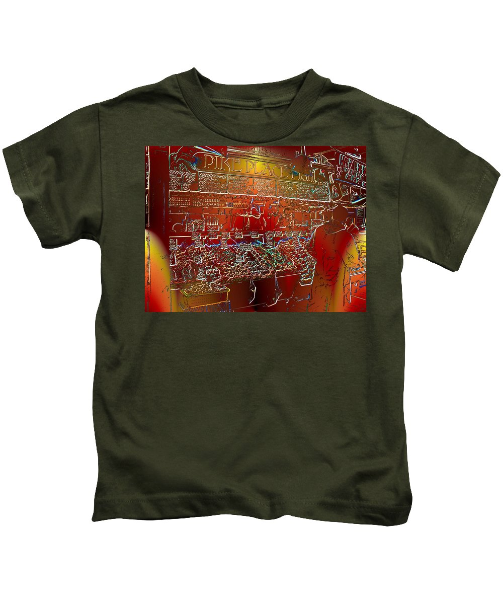 Seattle Kids T-Shirt featuring the photograph Pike Place Fish by Tim Allen