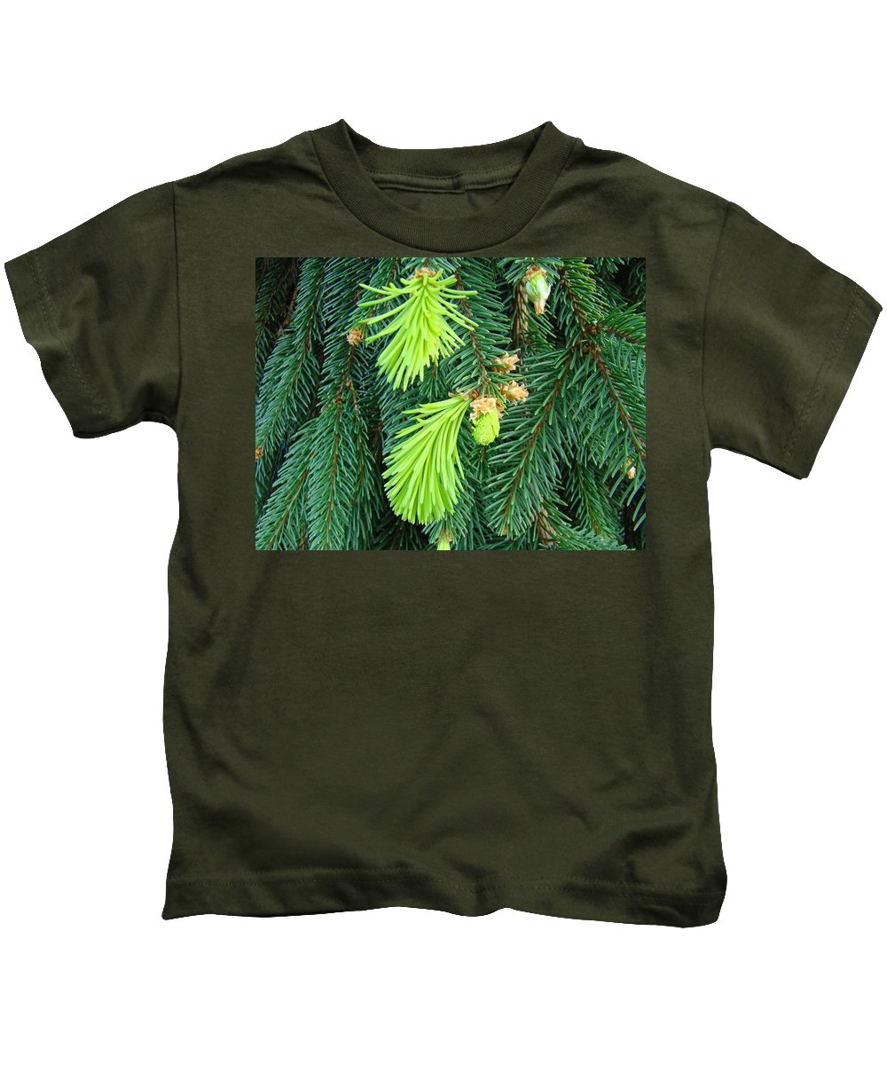 Pine Kids T-Shirt featuring the photograph Pine Tree Branches Art Prints Conifer Forest Baslee Troutman by Baslee Troutman