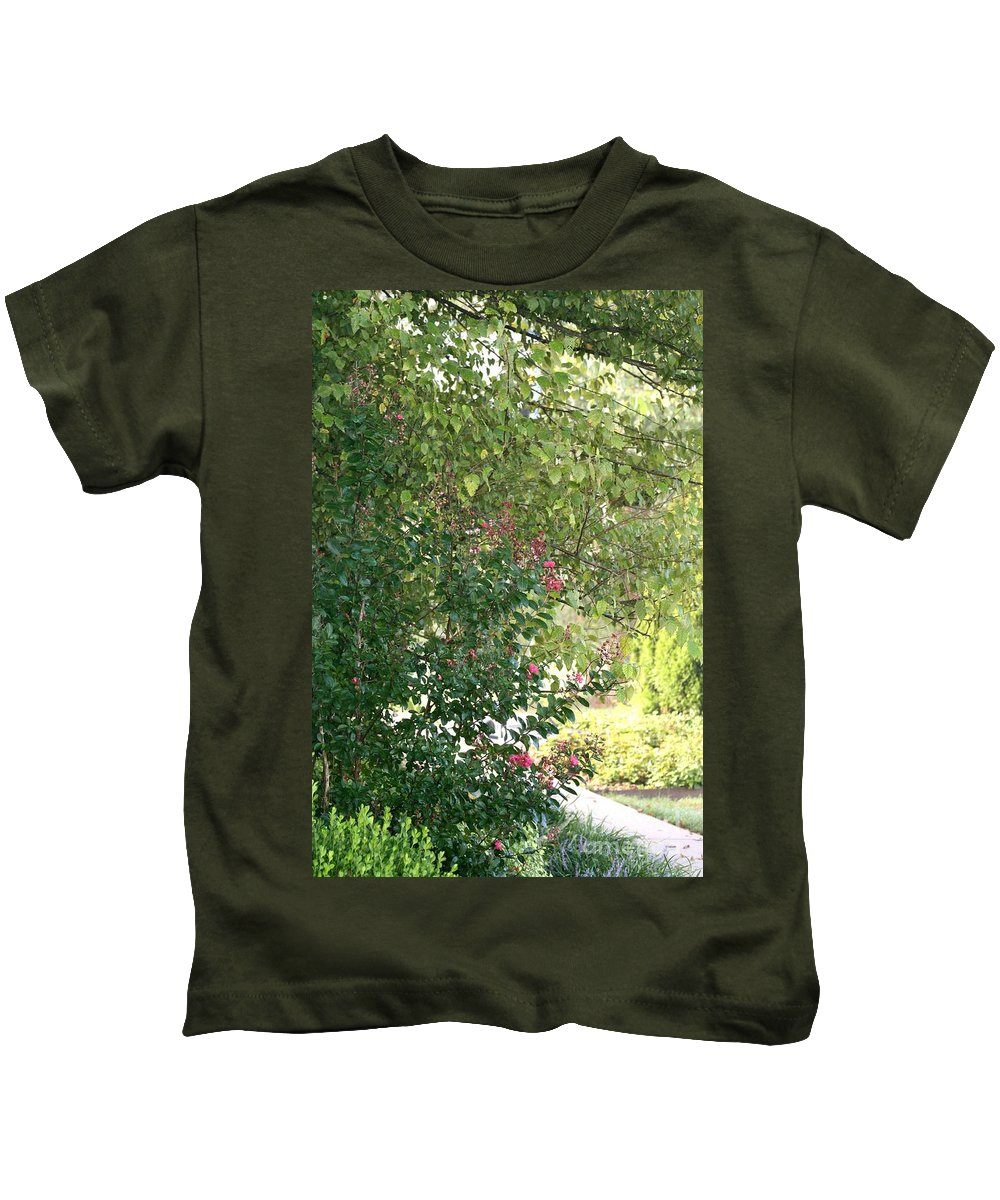 Path Kids T-Shirt featuring the photograph Pink And Green Path by Nadine Rippelmeyer