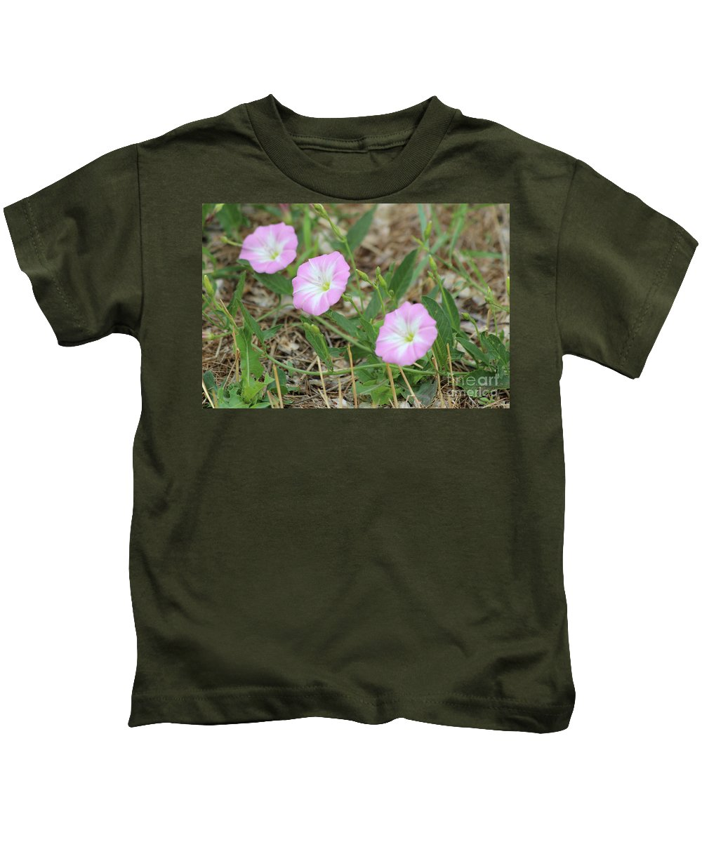 Pink Kids T-Shirt featuring the photograph Pink Bindweed by Ann E Robson