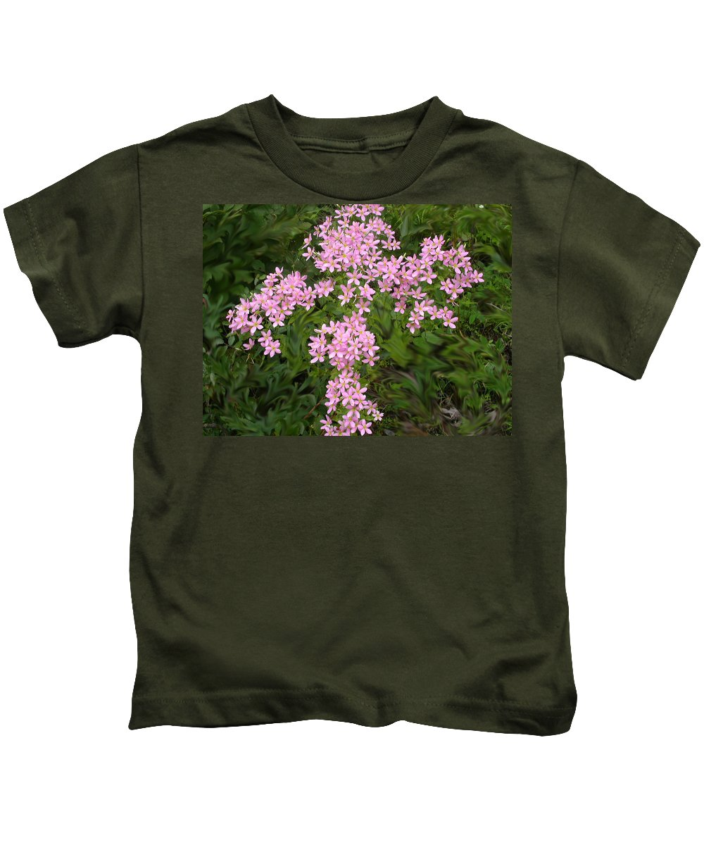 Flowers Kids T-Shirt featuring the photograph Pink Flower Cross by Anne Cameron Cutri