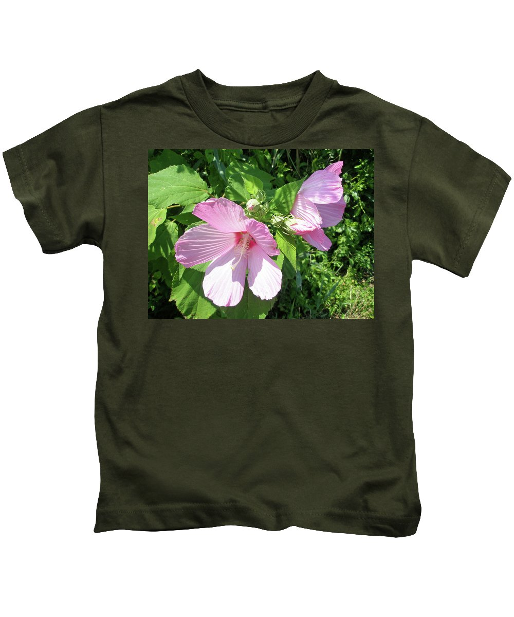 Hibiscus Kids T-Shirt featuring the photograph Pink Marsh Mallow Wildflower by Mother Nature