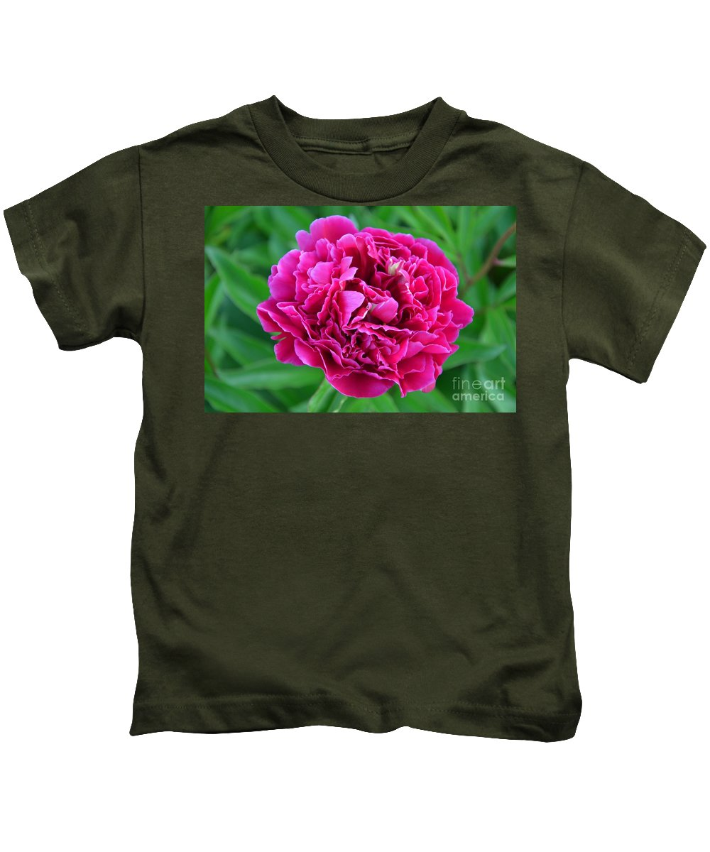 Peony Kids T-Shirt featuring the photograph Pink Peony by Deanna Cagle