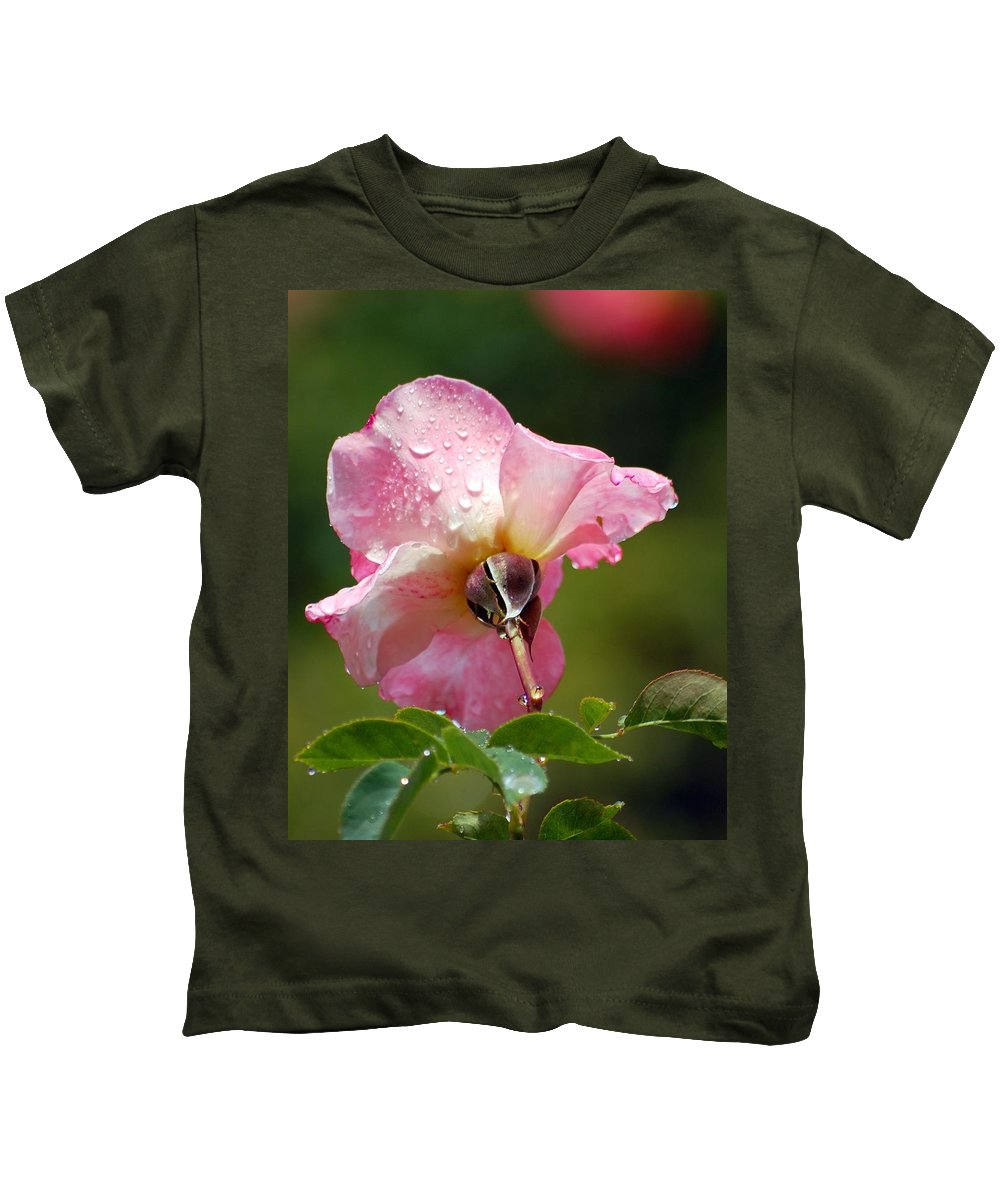 Rose Kids T-Shirt featuring the photograph Pink Rose In The Rain 2 by Amy Fose