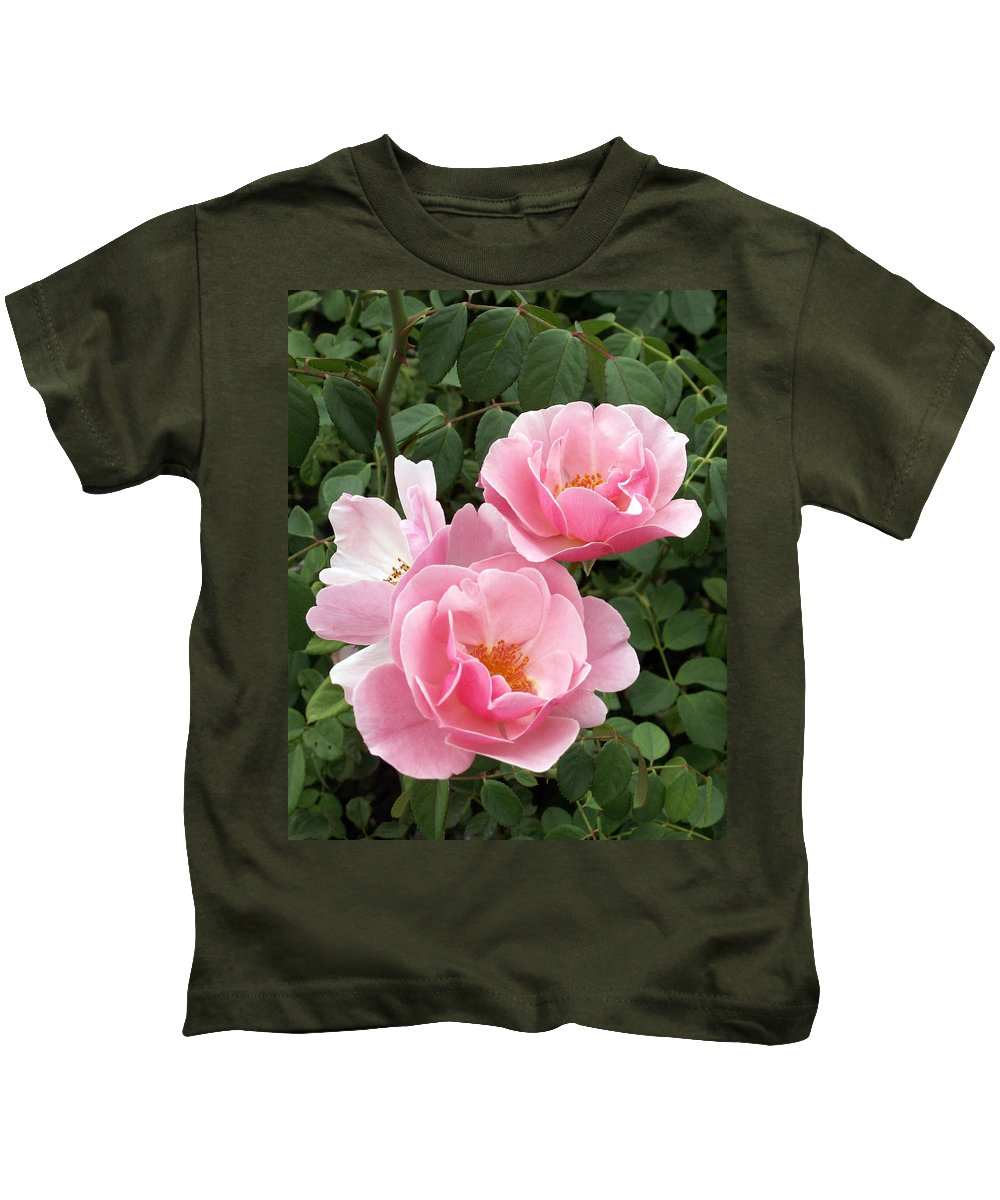 Roses Kids T-Shirt featuring the photograph Pink Roses 1 by Amy Fose