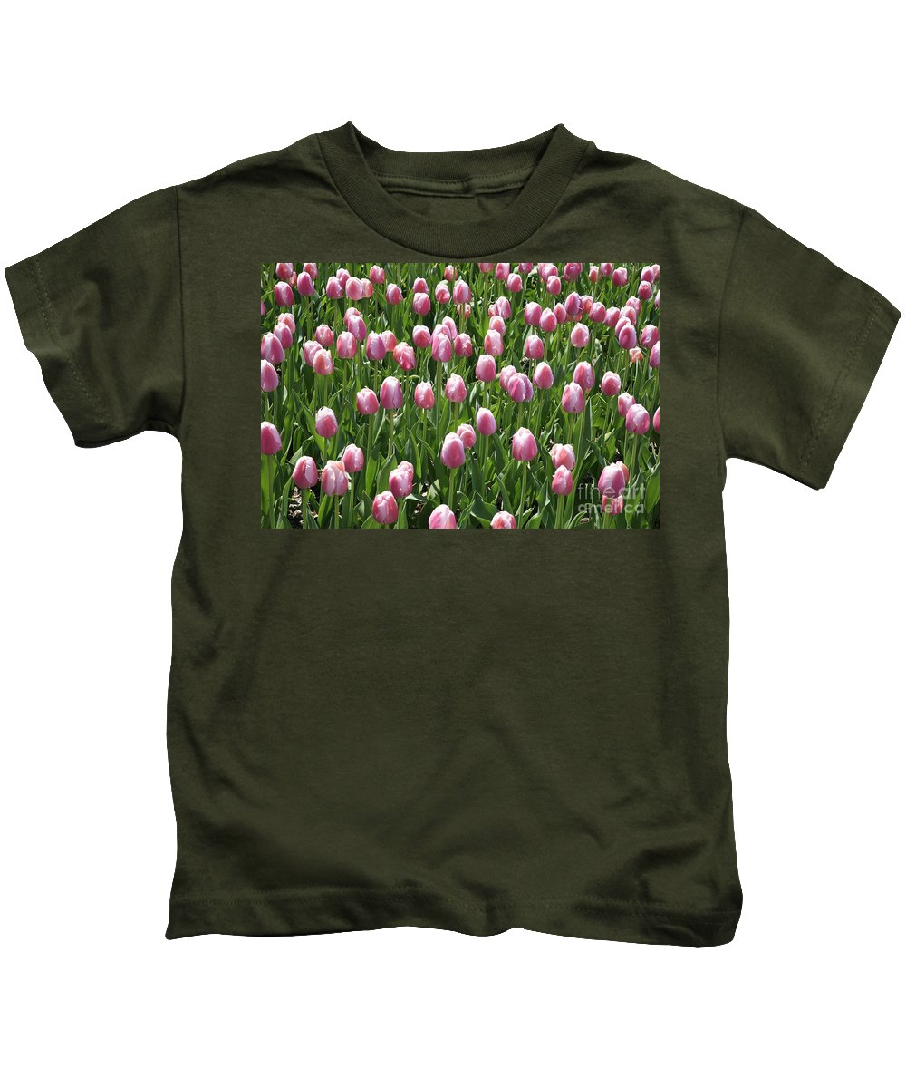Tulip Kids T-Shirt featuring the photograph Pink Tulip Field by Robert Pearson