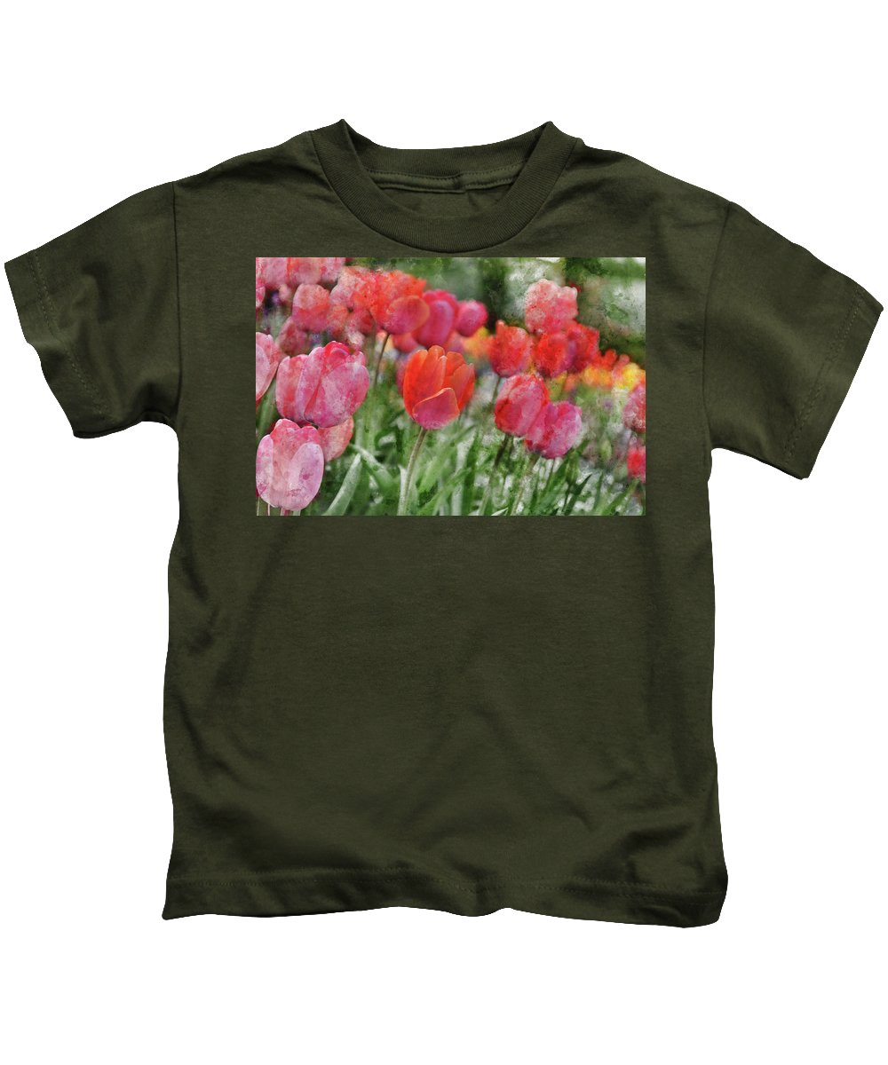 Flower Kids T-Shirt featuring the photograph Pink Tulip Macro by Brandon Bourdages