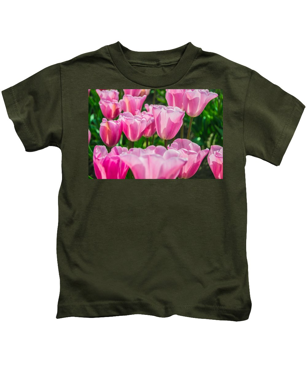 Tulip Kids T-Shirt featuring the photograph Pink Tulips Aglow by David Quist