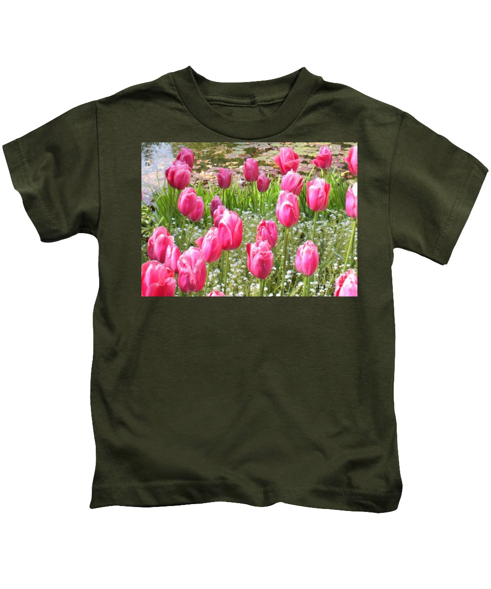 Ponds Kids T-Shirt featuring the photograph Pink Tulips By Peaceful Pond by Carol Groenen