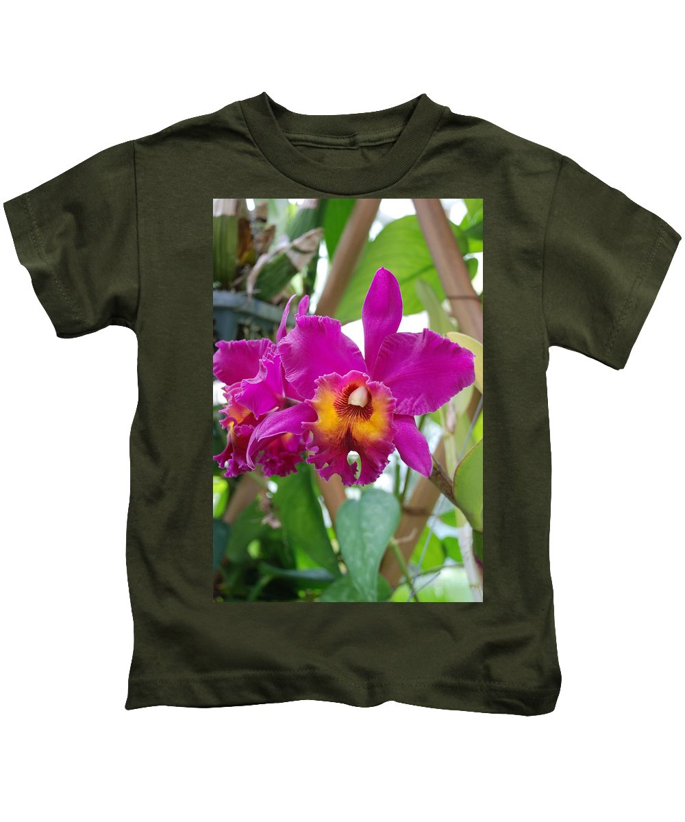 Macro Kids T-Shirt featuring the photograph Pinkishyellow Orchid by Rob Hans