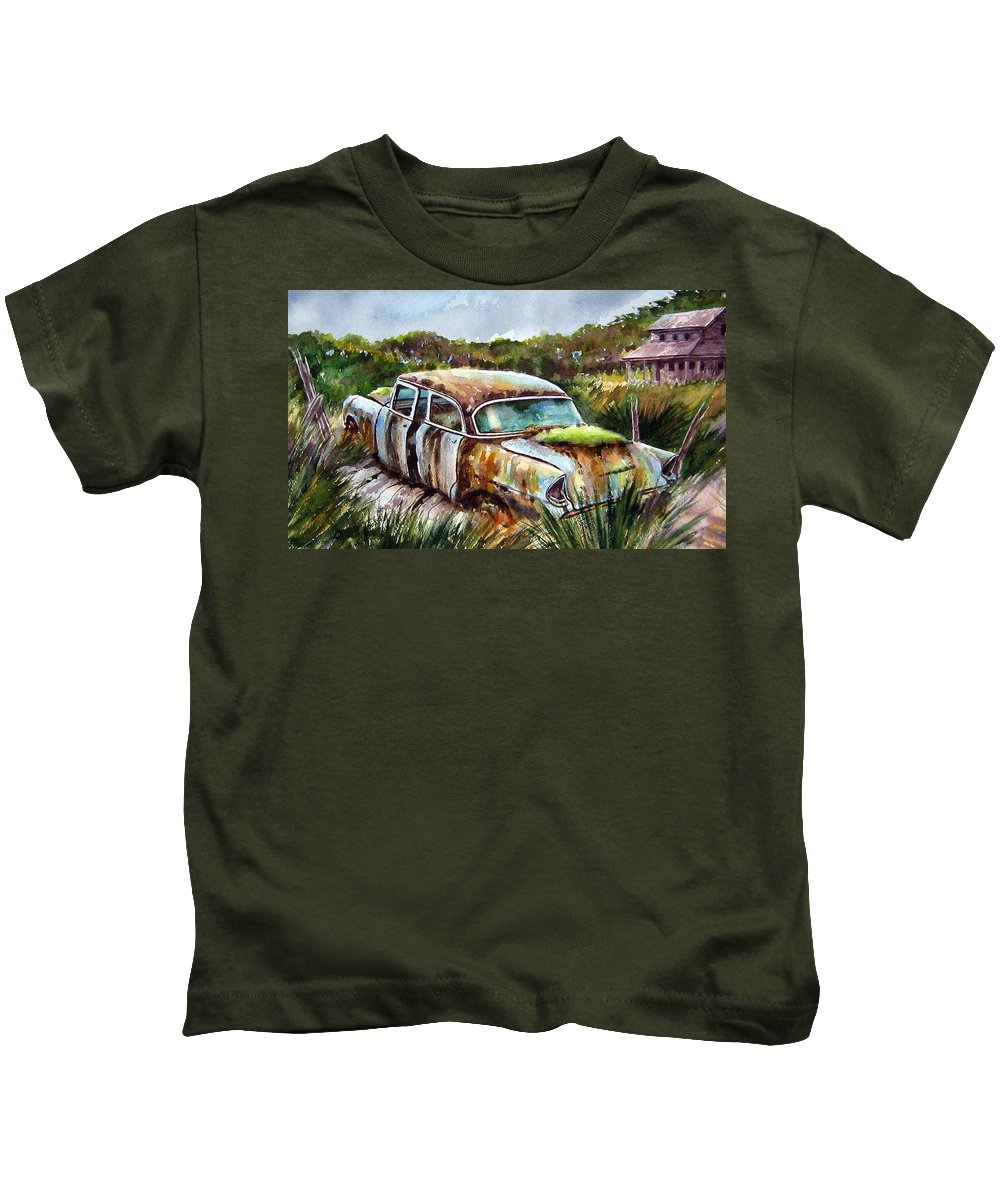 Plymouth Kids T-Shirt featuring the painting Plymouth On The Rocks by Ron Morrison