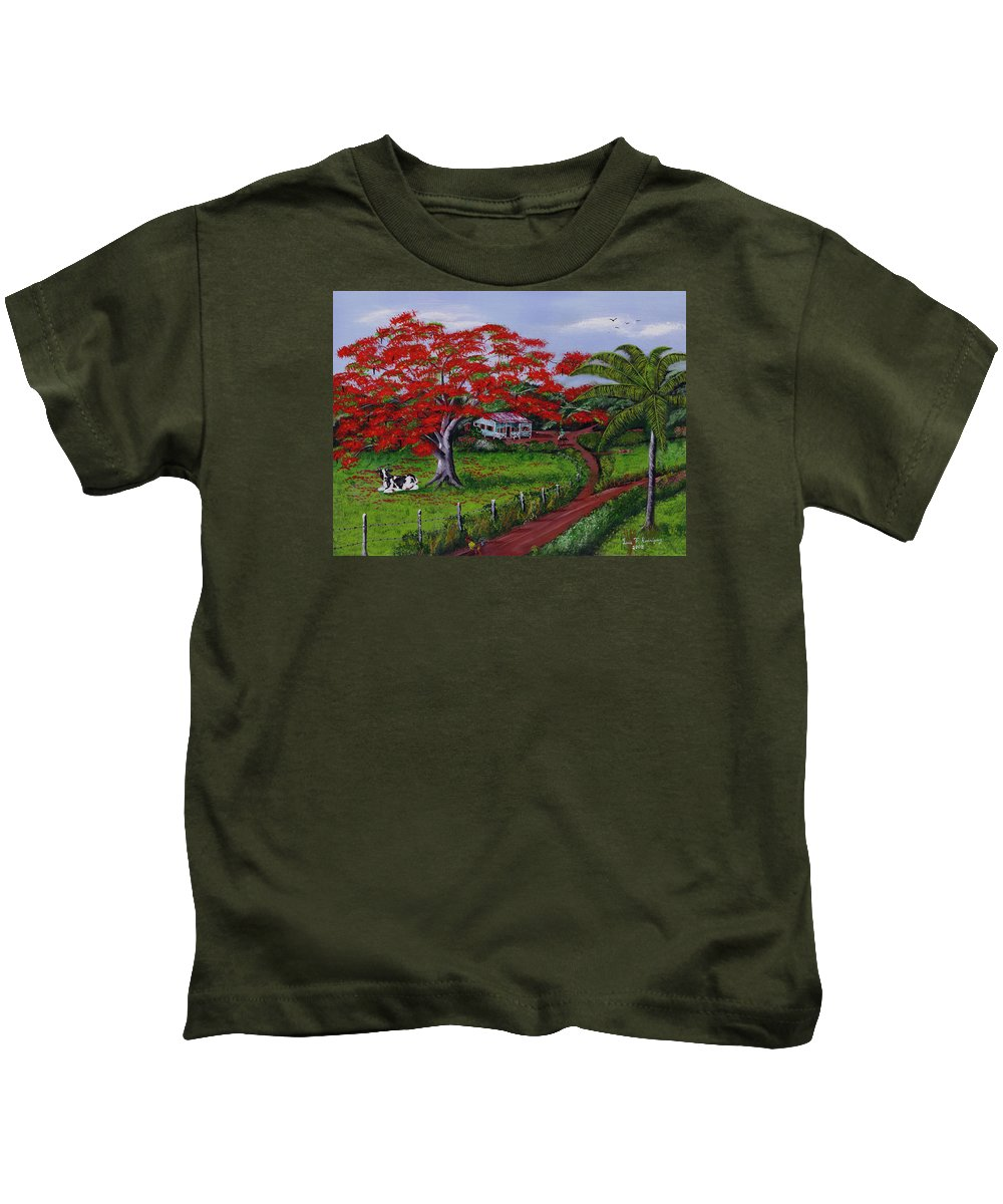 Flamboyant Tree Kids T-Shirt featuring the painting Poinciana Blvd by Luis F Rodriguez