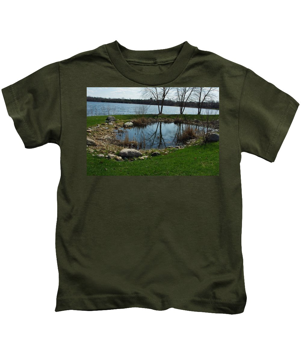 Pond Kids T-Shirt featuring the photograph Pond By The Lake by Alice Markham